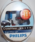 PHILIPS ΣΕΤ(2+2)H11+W5W CRYSTAL VISION