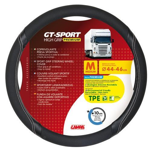 Κάλυμμα Τιμονιού Φορτηγού GT-SPORT Μαύρο με Ασημί Ραφή ? 44/46 cm Medium