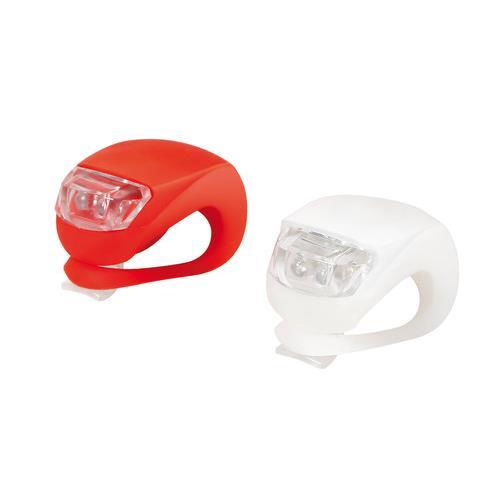 Φως ποδηλάτου σε κόκκινο και άσπρο 2τεμ. 2 LED αδιάβροχα