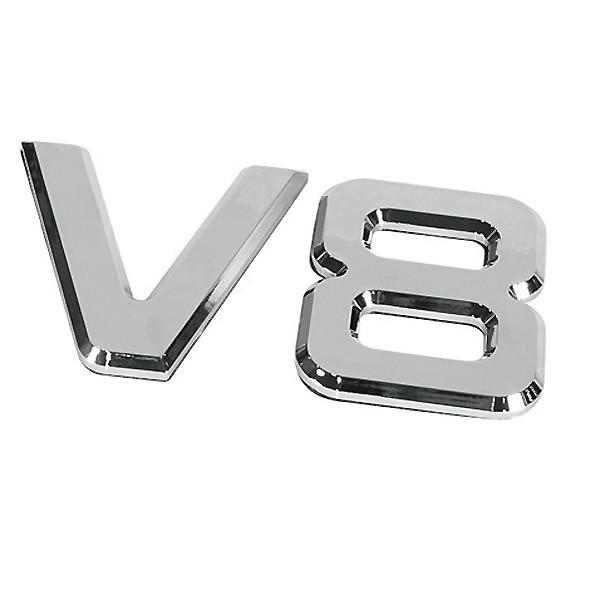 ΑΥΤΟΚΟΛΛΗΤΟ ΜΕΤΑΛΛΙΚΟ 3D ΣΗΜΑ V8