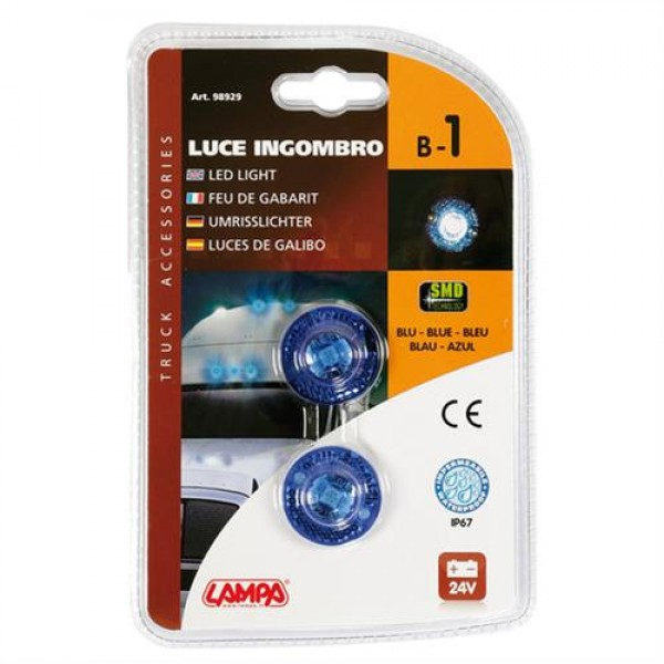 Φώτα Όγκου Φορτηγού 24V 1 Led 2τεμ Μπλε B-1 2
