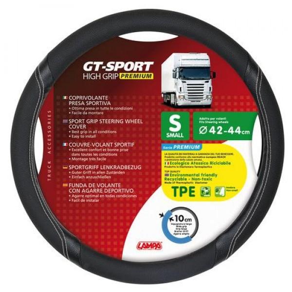 Κάλυμμα Τιμονιού Φορτηγού GT-SPORT Μαύρο με Ασημί Ραφή Ø 42/44 cm small